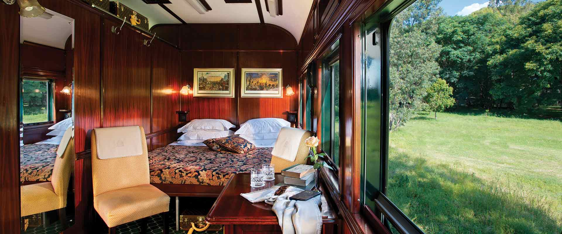 interior of deluxe double suite on rovos rail train, africa