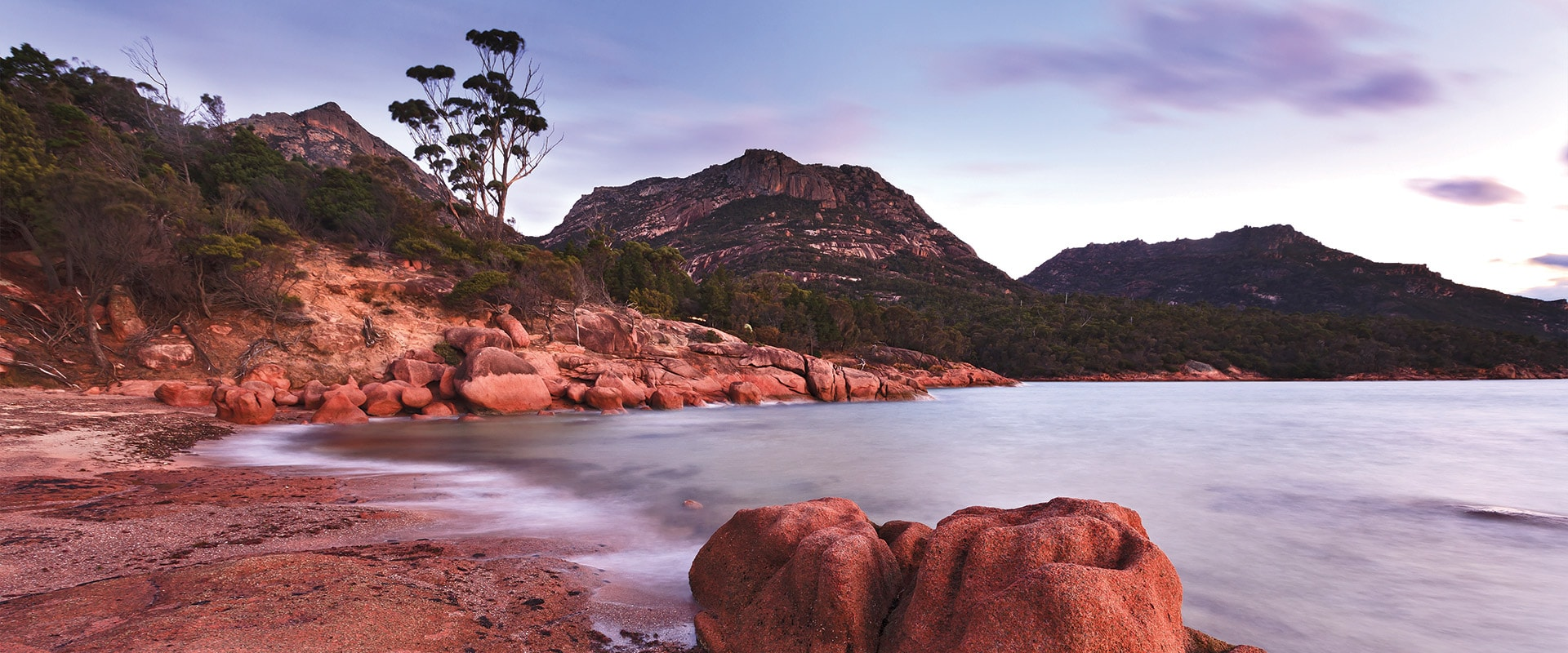 Pristine beach and rocks in Freycinet National Park, Tasmania