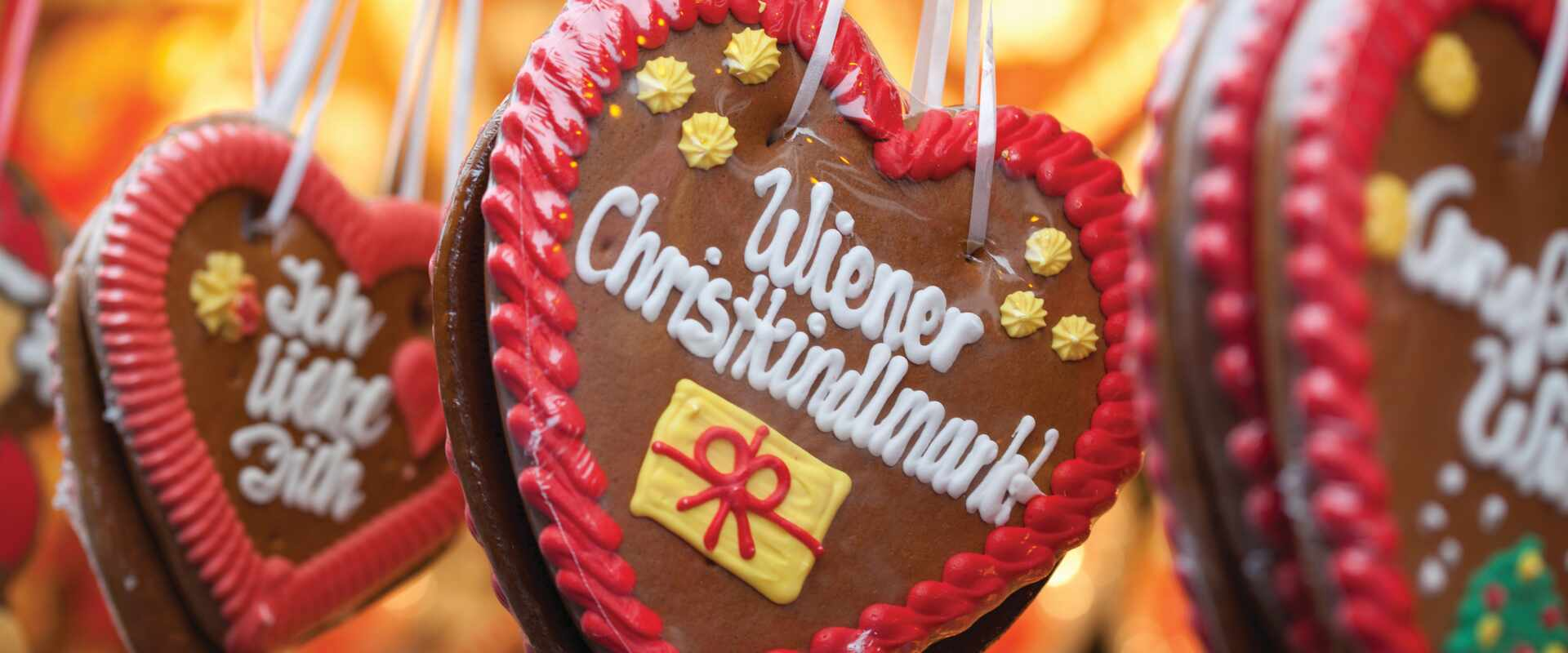 Ginger bread ornaments at Christmas market in Vienna, Austria