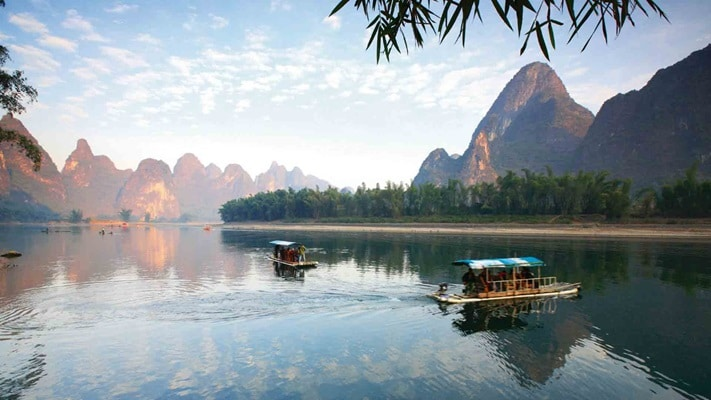 View of Yangshuo Li River with Ship