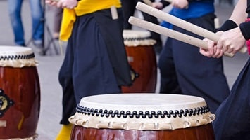 Close up of traditional drum, Japan