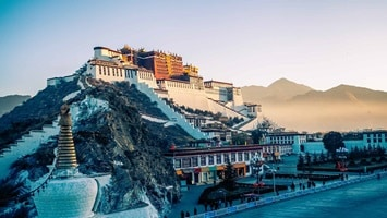 View of huge palace on a hill, Tibet