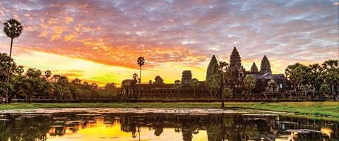 Angkor Wat at sunset over the lake, Cambodia