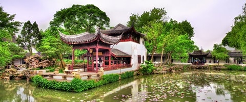 Garden and Temple in Suzhou, China