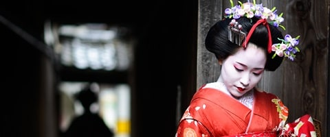 Young geisha in a pensive mood