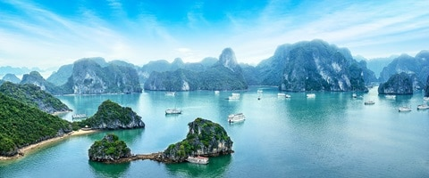 Aerial view of inlets and boats in Ha Long Bay, Vietnam