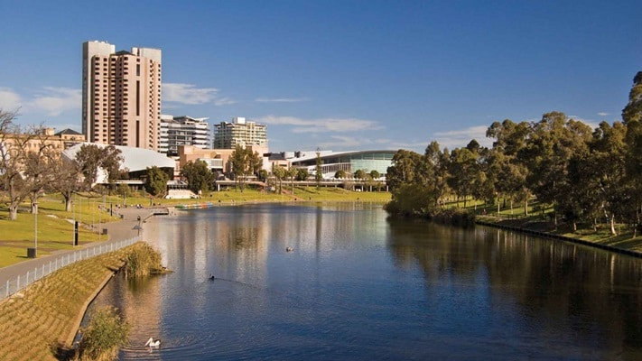 Adelaide and the Todd River in sunshine