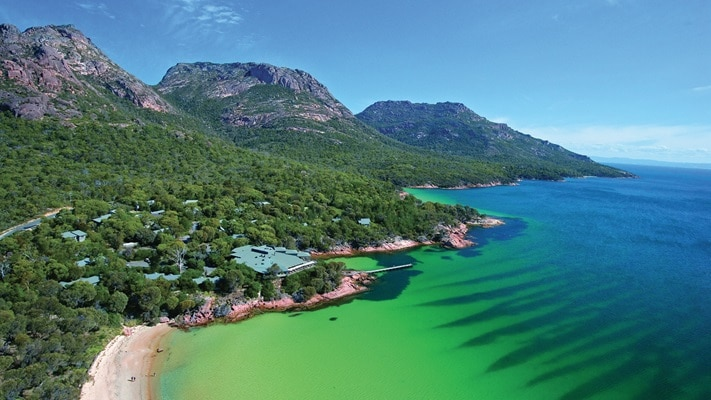 Aerial view of Freycinet lodge overlooking the waters of Great Oyster Bay