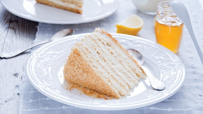 Afternoon tea of layered honey cake