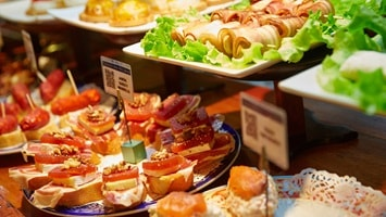 Platters of gourmet delicacies