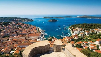 Aerial view across a seaside town, Croatia