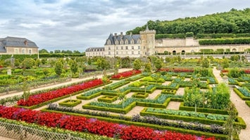 Manicured gardens of Château de Villandry in summer, France