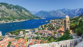 Panoramic view looking down over Kotor Bay in Montenegro.