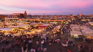 Aerial view of the market place in Marrakech, Morocco