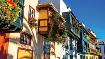 Colourful house facades on a sunny day, Spain