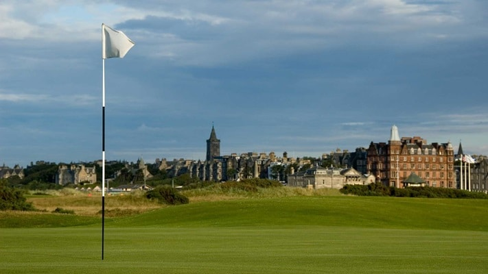 Golf course with clubhouse in the distance, Scotland