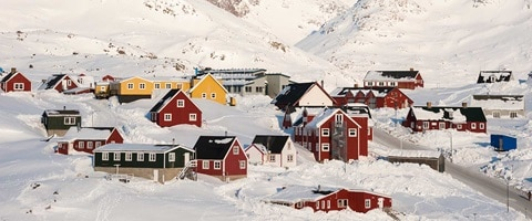Small alpine village covered in snow, Greenland