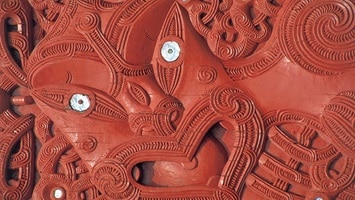 Close up of red maori carving, New Zealand