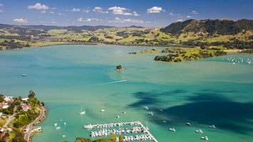 Aerial view of Bay of islands, North Island, New Zealand