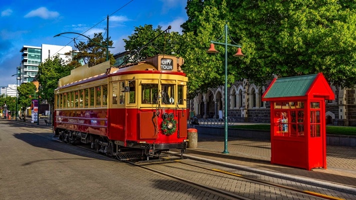 View of Red Tran Car, New Zealand