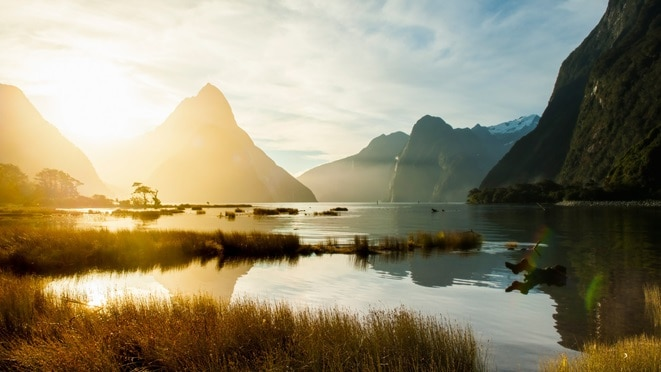 Sunset at Fiordland National Park, Milford Sound, South Island, New Zealand