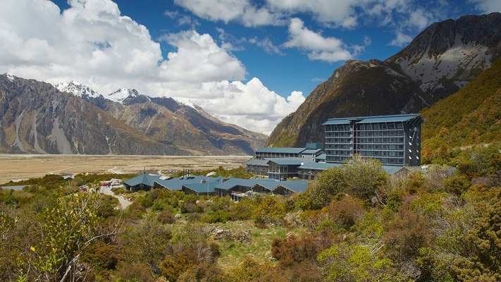 View of the Hermitage Hotel, Mt Cook, across the valley, NZ