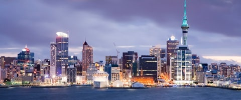 Auckland harbor at night, New Zealand