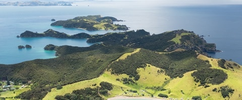 Aeriel view of the lush green of Bay of Islands, New Zealand