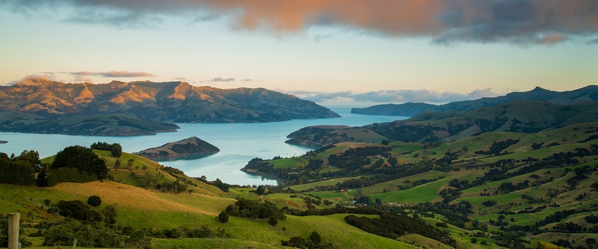 Aerial view of Akaroa coastline, New Zealand