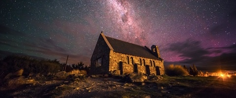 Church of the good Shepherd at night with sky full of stars, New Zealand