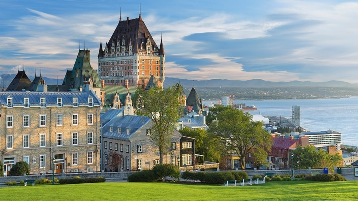 Wide angle of the castle like hotel Fairmont Frontenac Quebec, Canada