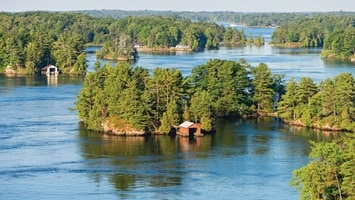 Aerial view of thousand islands on sunny day