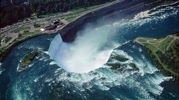 Aerial view of the Horse shoe shaped falls of Niagara