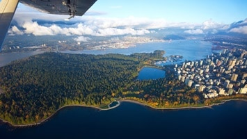 View over Vancouver from your private float plane