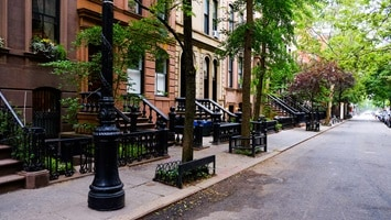 Streetscape with terrace houses in New York