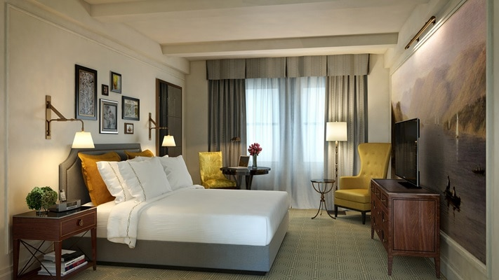 Luxurious room interior with soft grey and yellow tones