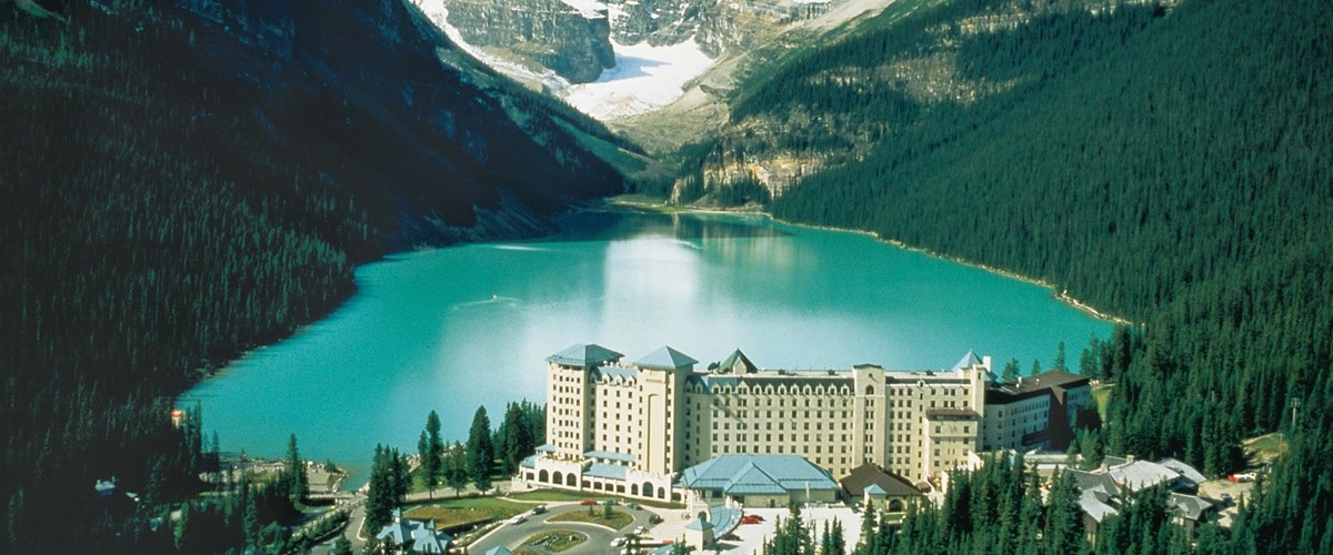 Fairmont Chateau overlooking Lake Louise in Banff