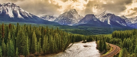 View of mountains and forest at Banff National Park, Canada