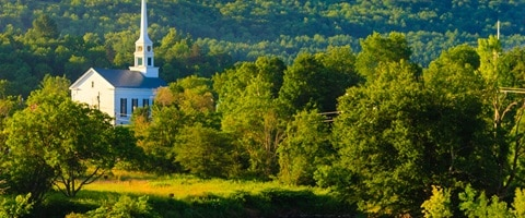 View across the countryside with luch green trees, Stowe, USA