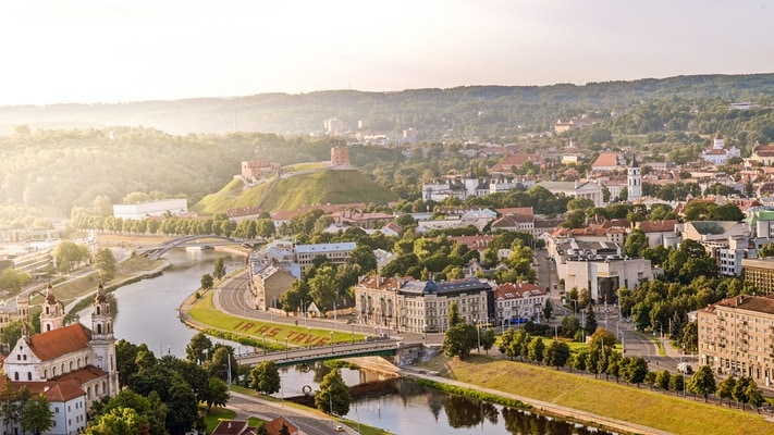 Aerial view of the river meandering its way through the city of Vilnius, Lithuania