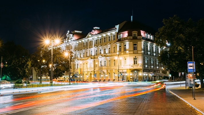 Night lights on a hotel in a European City, Lithuania