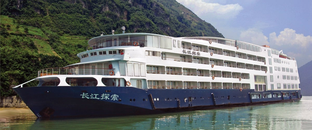 River ship docked on a river, China
