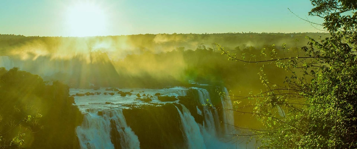 Huge waterfalls at sunset, Brazil