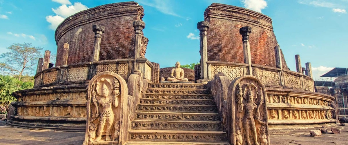 Polonnaruwa Vatage steps on a sunny day